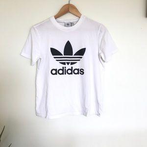 Adidas White Short Sleeve Logo T-Shirt
